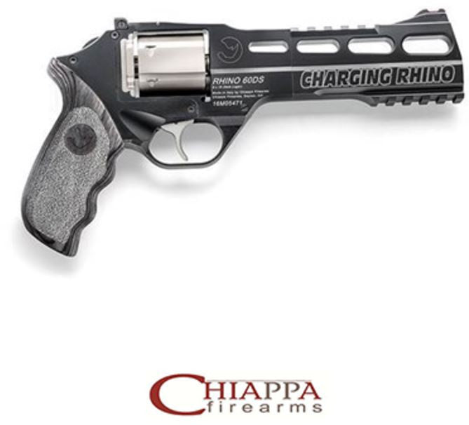"CHIAPPA CHARGING RHINO 6"" 60DS 9mm  improved trigger DAO 10 moon clips (340.271)"