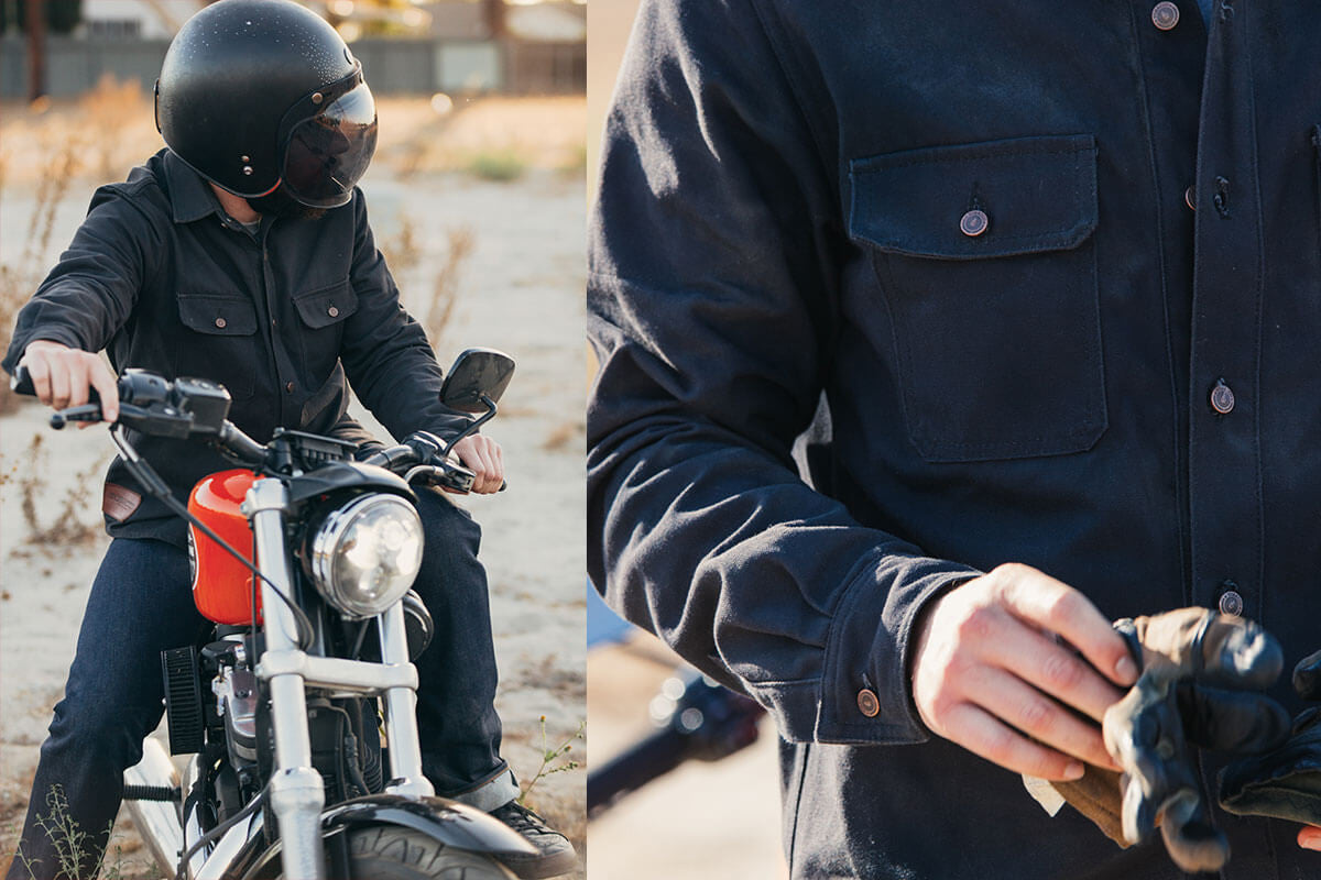 Black Riding Shirt on Bike