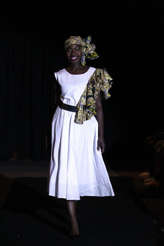 Fari-White dress with African print dress with head wrap