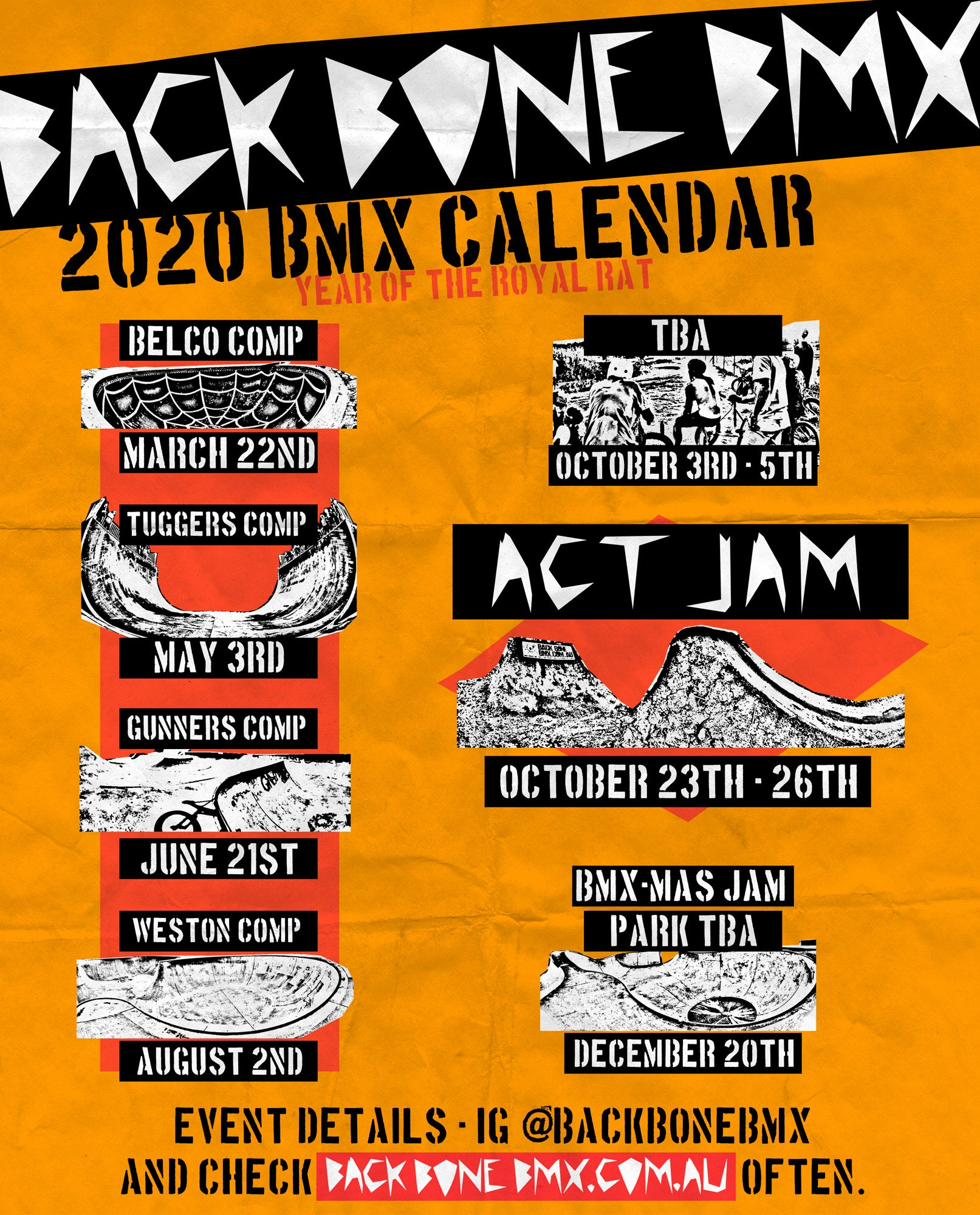 Back Bone BMX events calendar 2020