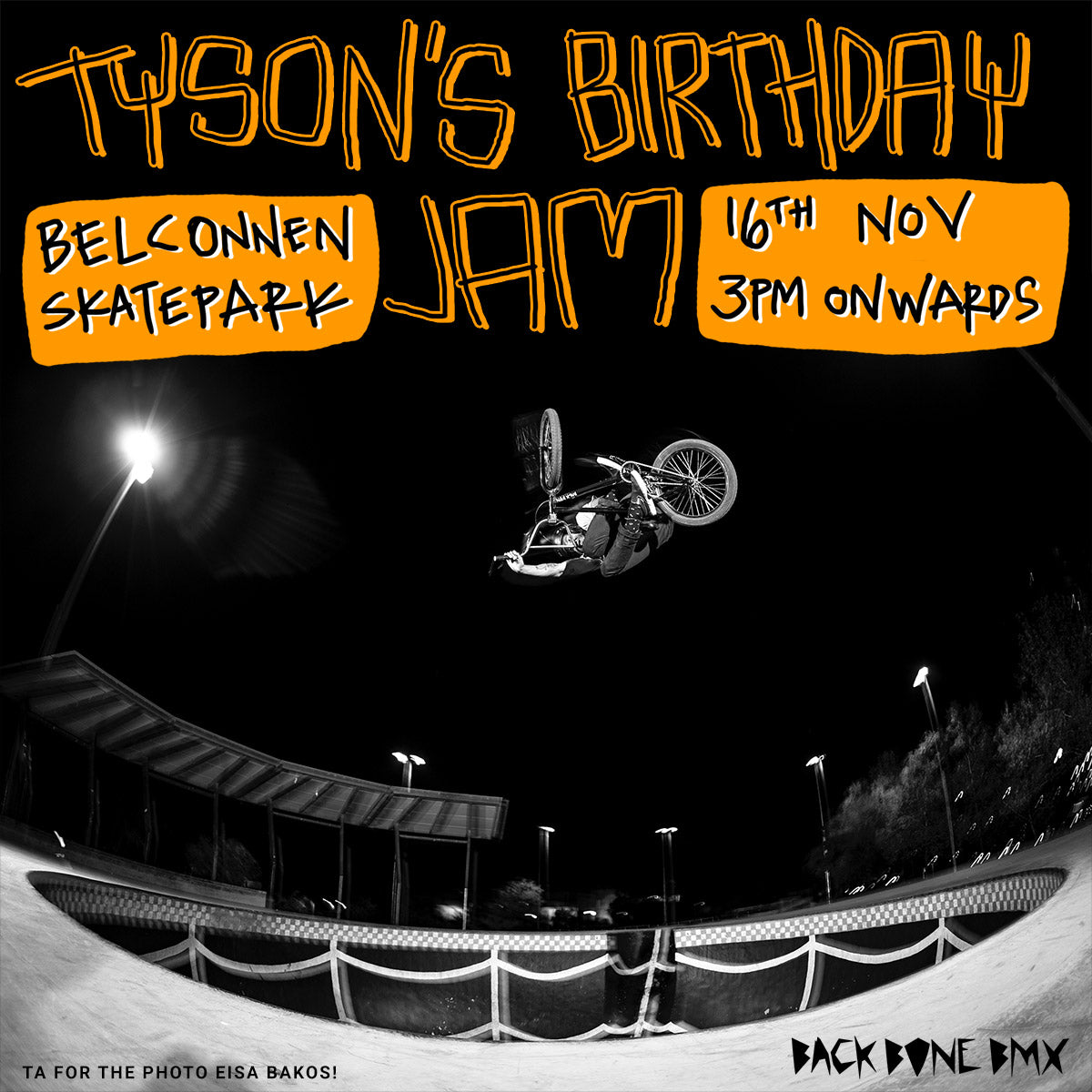 Tyson Belconnen birthday jam flyer