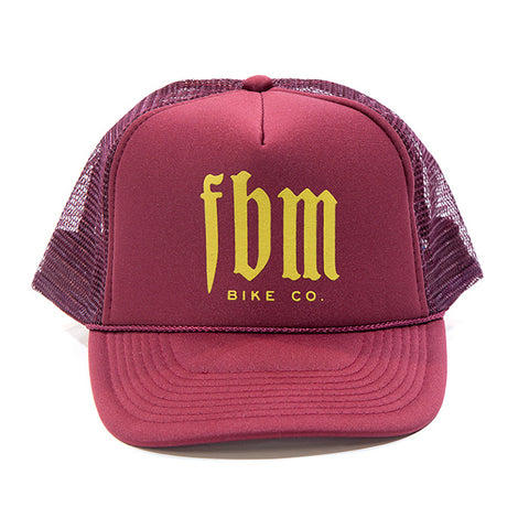 FBM Script Trucker Hat - Maroon For Sale Back Bone BMX Australia