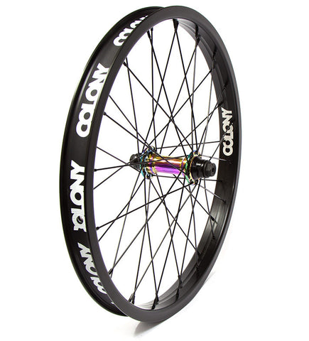 Colony Pintour Front Wheel - Black/Rainbow - Back Bone BMX Shop Australia