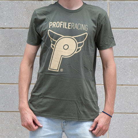 Profile Wing T-Shirt - Army/Tan For Sale Back Bone BMX Australia