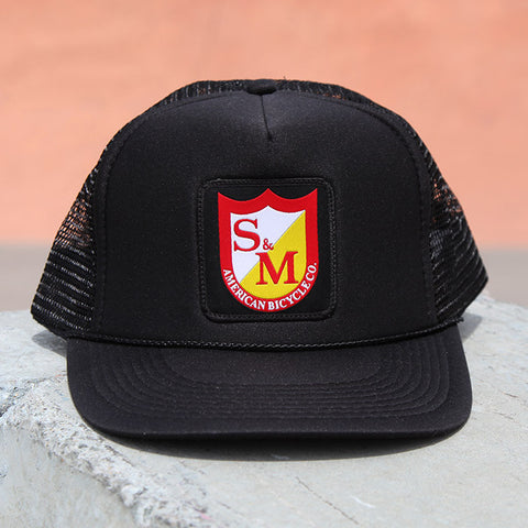 S&M Shield Trucker Hat - Black For Sale Back Bone BMX Australia