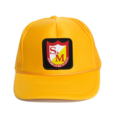 S&M Shield Trucker Hat - Gold For Sale Back Bone BMX Australia