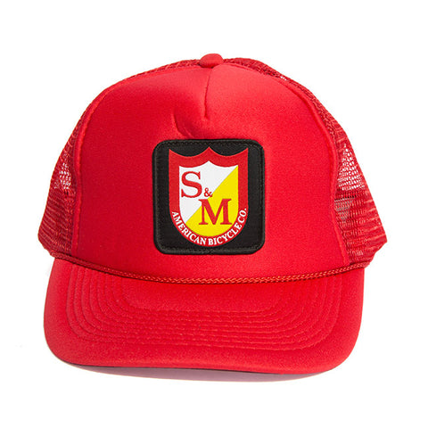 S&M Shield Trucker Hat - Red For Sale Back Bone BMX Australia