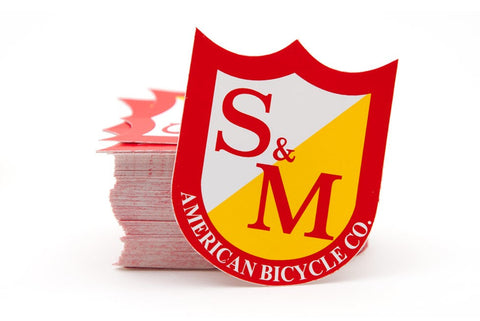 S&M Shield BMX Sticker - Red/Yellow/White