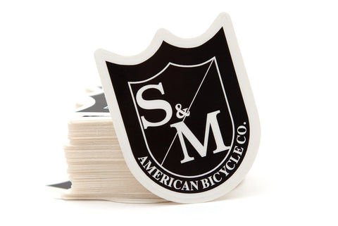 S&M Shield BMX Sticker - Black/White