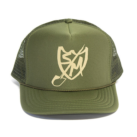 S&M Shovel Shield Trucker Hat - Olive For Sale Back Bone BMX Australia