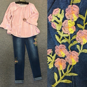 Legging Jeans with Pink Design
