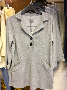 Grey 2 Button 3/4 Sleeve Sweatshirt