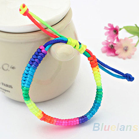 Adjustable woven rainbow pride bracelet - Noneend Outlet