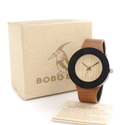 Cylinder Wooden Case Wristwatch - Noneend Outlet
