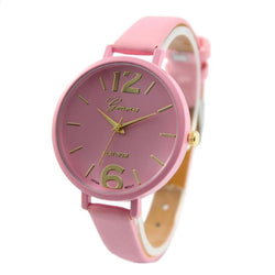 Faux Leather Pink Geneva Women Quartz - Noneend Outlet
