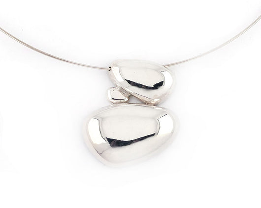 Sterling Silver Pebble Cairns Choker Necklace | Silver Sculptor