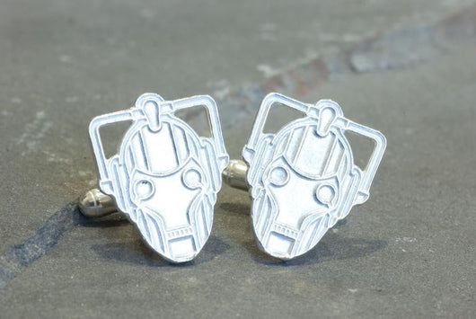 Doctor Who Cyberman Cufflinks | Silver Sculptor