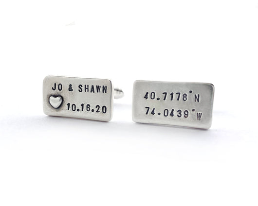 Personalized Coordinate Heart and Bride and Groom Names Cufflinks | Silver Sculptor