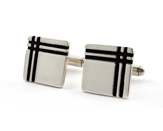 Tartan Plaid Sterling Silver Cufflinks | Silver Sculptor