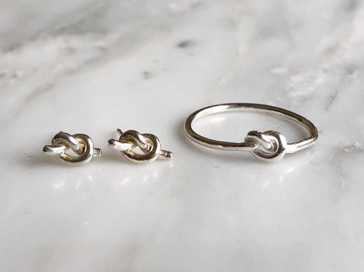 Knot Stacking Ring and Earring Set | Silver Sculptor
