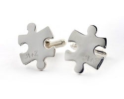 Personalized Puzzle Piece Cufflinks | Silver Sculptor