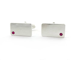 Sterling Silver Ruby Cuff Links | Silver Sculptor