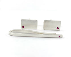 Sterling Silver Ruby Cuff Links and Tie Clip Set | Silver Sculptor
