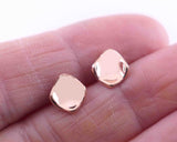 14k Rose Gold Square Curled Stud Earrings | Silver Sculptor