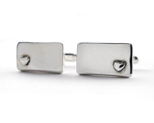 Sterling Silver Wedding Heart Cufflinks | Silver Sculptor