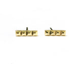 14k Yellow Gold Pyramid Bar Stud Earrings | Silver Sculptor