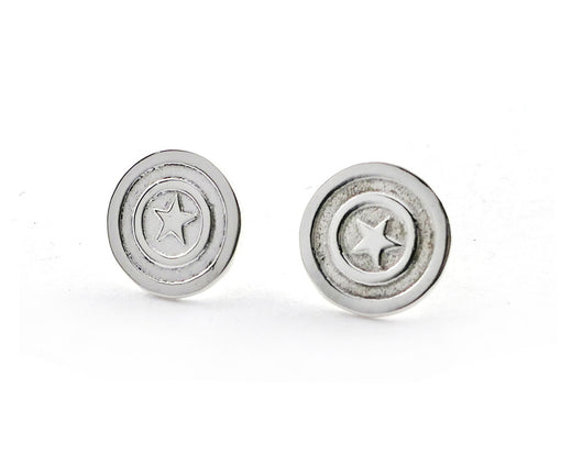 Captain America Stud Earrings | Silver Sculptor