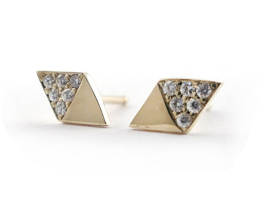 Diamond Shaped Studs with Moissanites in 14k Yellow Gold | Silver Sculptor