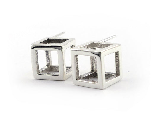 Sterling Silver Cube Earrings | Silver Sculptor