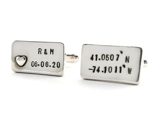 Personalized Longitude and Latitude Initials and Date Cufflinks | Silver Sculptor