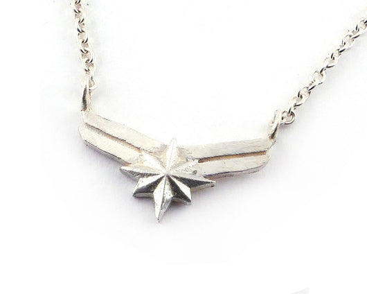 Sterling Silver Captain Marvel Necklace | Silver Sculptor