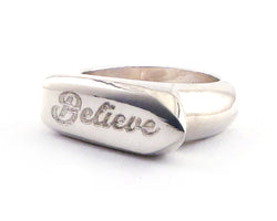 Sterling Silver Believe Intention Setting Signet Ring | Silver Sculptor Jewelry