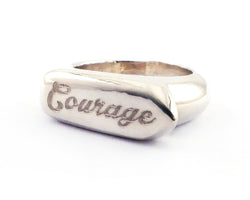 Sterling Silver Courage Signet Ring