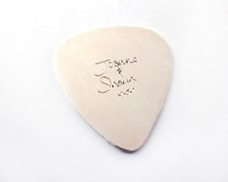Personalized Engraved Handwriting Guitar Pick, Plectrum in Sterling Silver | Silver Sculptor
