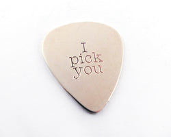 I Pick You Guitar Pick, Plectrum in Sterling Silver | Silver Sculptor