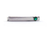 Sterling Silver Emerald Bezel Set Slide Tie Bar