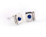 Sterling Silver Sapphire Geometric Stud Earrings