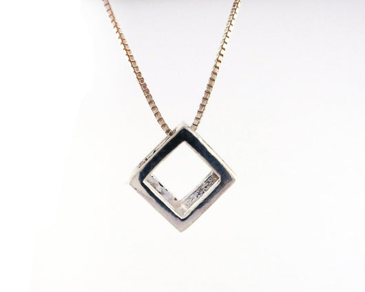 Sterling Silver Cube Necklace | Silver Sculptor