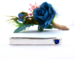 Sterling Silver Sapphire Bezel Set Slide Tie Bar | Silver Sculptor