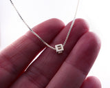 Tiny Sterling Silver Cube Necklace | Silver Sculptor
