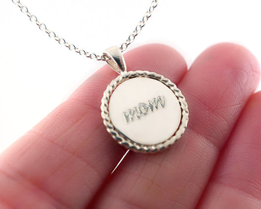 Sterling Silver New Mom Engraved Charm Necklace | Silver Sculptor