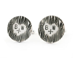 Personalized Sterling Silver Wooden Heart Cufflinks | Silver Sculptor