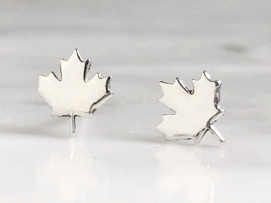 Maple Leaf Stud Earrings | Silver Sculptor