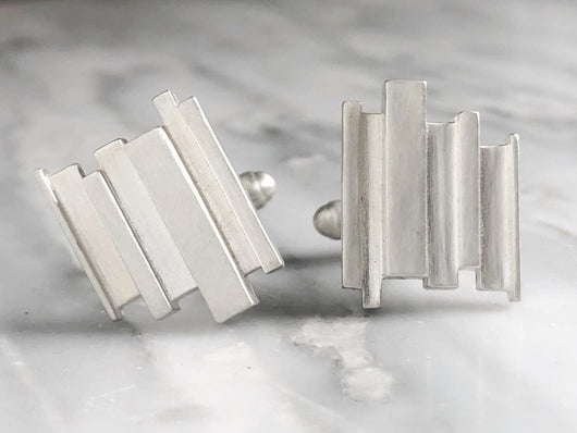 Sterling Silver Abstract Cufflinks | Silver Sculptor