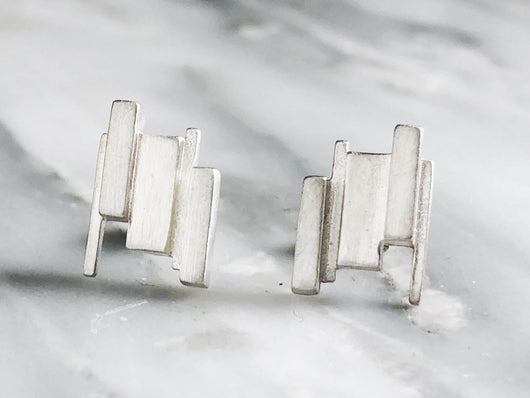 Abstract Formations Studs | Silver Sculptor