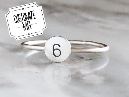 Sterling Silver Personalized Initial Stacking Ring | Silver Sculptor